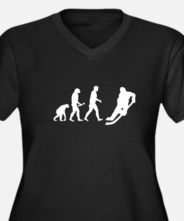 Hockey Evolution Women's Plus Size V-Neck Dark T-S