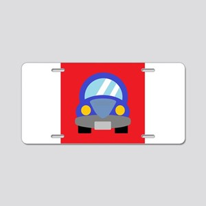 Blue Car on Red Background Aluminum License Plate