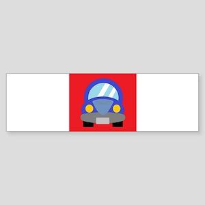 Blue Car on Red Background Sticker (Bumper)