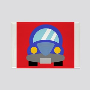 Blue Car on Red Background Rectangle Magnet