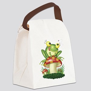 Frog Toad stool Canvas Lunch Bag