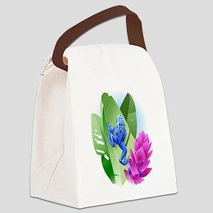 Frog on leaf Canvas Lunch Bag