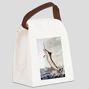 Striped Marlin Canvas Lunch Bag