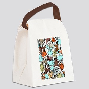 Raining Cats Dogs Canvas Lunch Bag