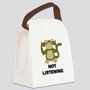 """""""Not Listening Monkey"""" Canvas Lunch Bag"""