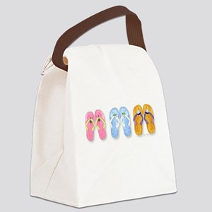 3 Pairs of Flip-Flop Flops Canvas Lunch Bag