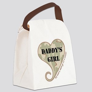 Daddy's girl camo soldier heart Canvas Lunch Bag