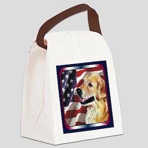 Golden Retriever USA Flag Canvas Lunch Bag