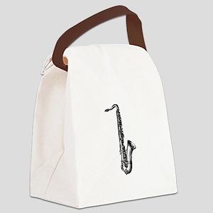 Woodcut Saxophone Canvas Lunch Bag