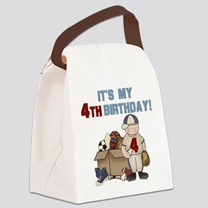 I Love Sports 4th Birthday Canvas Lunch Bag