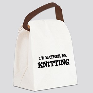 Rather be Knitting Canvas Lunch Bag