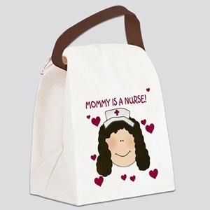Mommy Nurse Black Hair Canvas Lunch Bag