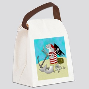 Pirate Dolphin Canvas Lunch Bag