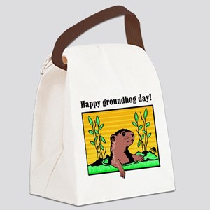 Happy groundhog day! Canvas Lunch Bag