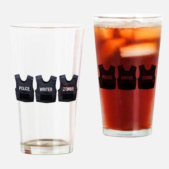 Police, writer, zombie Drinking Glass