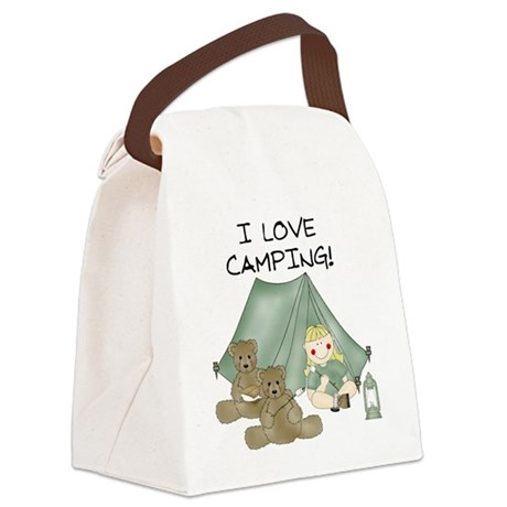 I Love Camping (Girl) Canvas Lunch Bag