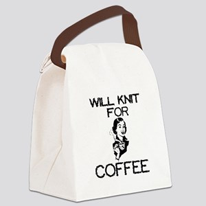 Will Knit for Coffee Canvas Lunch Bag