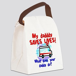 Daddy Saves Lives Ambulance Canvas Lunch Bag