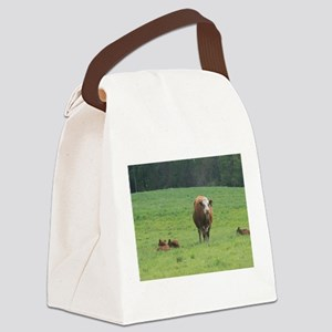Cow and Calves Canvas Lunch Bag