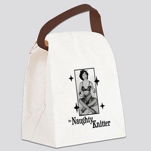 The Naughty Knitter Canvas Lunch Bag