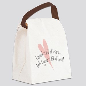 I Need Care/ Give A Lot of Love Canvas Lunch Bag