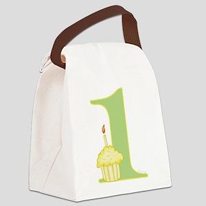 1st Birthday Cupcake Canvas Lunch Bag