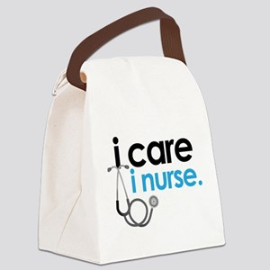 i care i nurse blue Canvas Lunch Bag