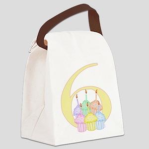 6th Birthday Cupcake Canvas Lunch Bag