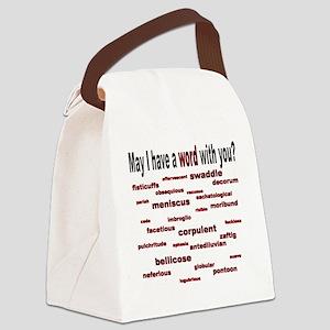 Crimson Words Canvas Lunch Bag