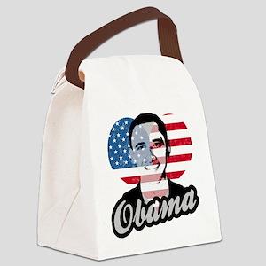 Barack Obama American Heart Canvas Lunch Bag
