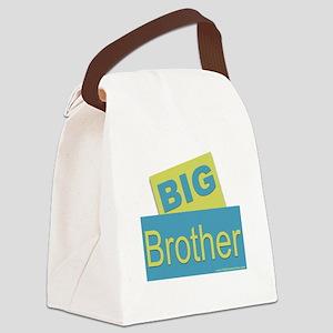 Big Brother blue green blocks Canvas Lunch Bag