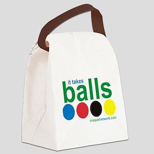 Croquet-It Takes Balls Canvas Lunch Bag