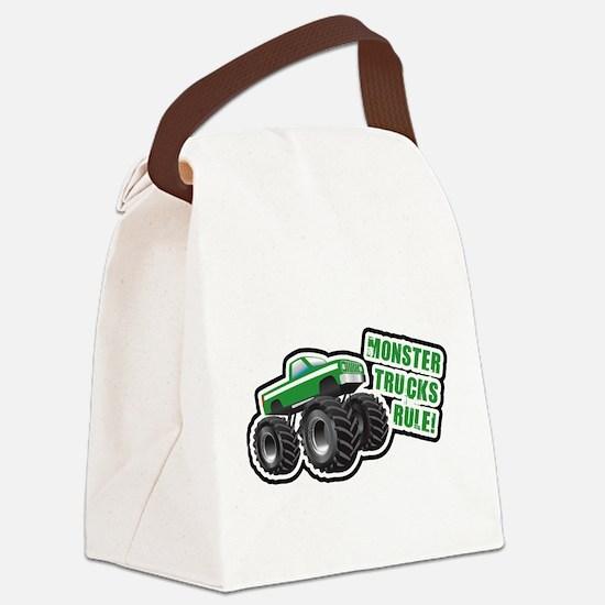 Green Monster Truck Canvas Lunch Bag