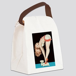 Weighing Girl Canvas Lunch Bag