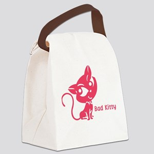 Pink Bad Kitty Canvas Lunch Bag