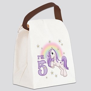 Pretty Pony 5th Birthday Canvas Lunch Bag