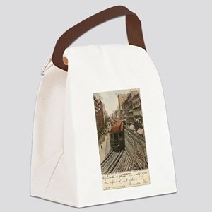 Vintage Chicago Elevated Railroad Canvas Lunch Bag