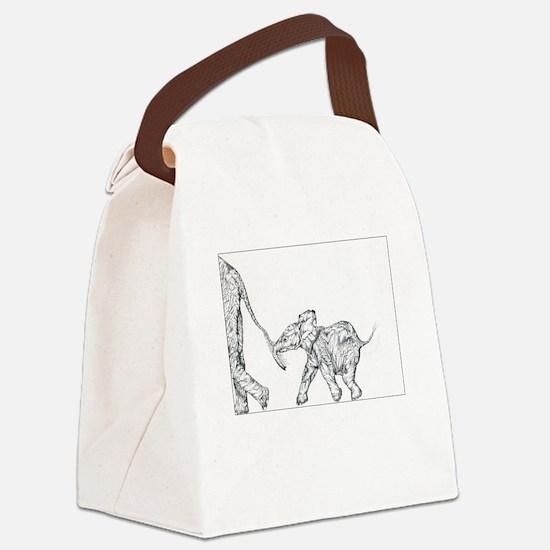 Elephants Canvas Lunch Bag