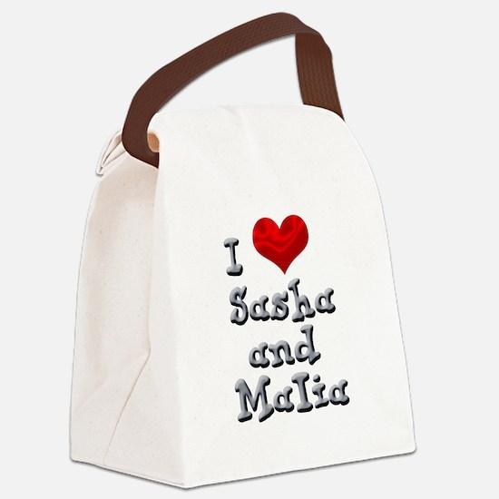 I Love Sasha and Malia Canvas Lunch Bag
