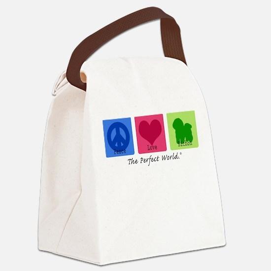 Peace Love Bichon Canvas Lunch Bag