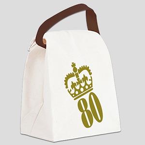 80th Birthday Canvas Lunch Bag