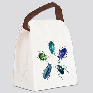 Five Shiny Beetles Canvas Lunch Bag