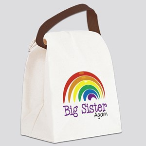 Big Sister Again Rainbow Canvas Lunch Bag