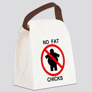 No Fat Chicks Canvas Lunch Bag