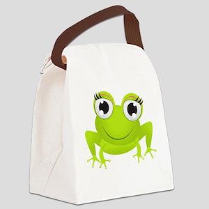 Girlie Girl Frog Frogette Canvas Lunch Bag