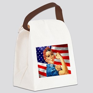 Rosie the Riveter with US Flag Background Canvas L