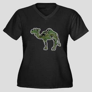 CamelFlage Women's Plus Size V-Neck Dark T-Shirt