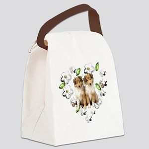 Organic Collie Puppies Canvas Lunch Bag