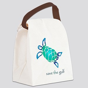 save the gulf - sea turtle bl Canvas Lunch Bag