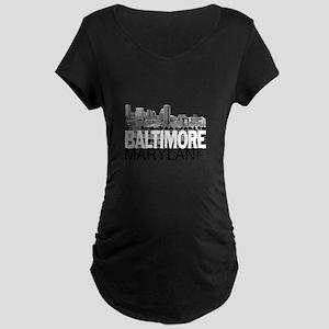 Baltimore Skyline Maternity Dark T-Shirt
